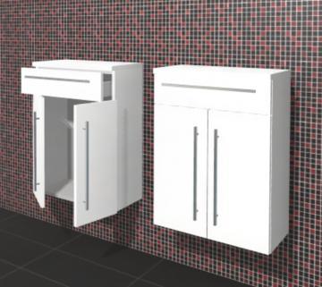 Puris Linea Badmöbel Highboard 60 cm | 1 Schubkasten + 2 Türen