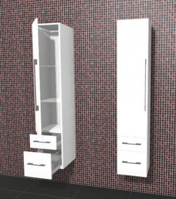 Puris Linea Badmöbel Hochschrank 30 cm | 1 Tür + 2 Auszüge