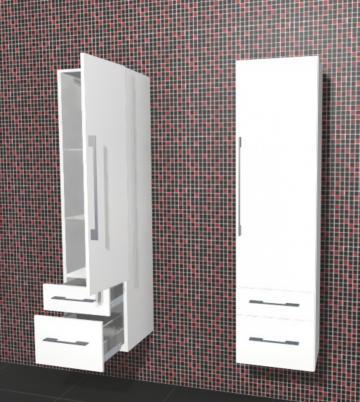Puris Linea Badmöbel Hochschrank 40 cm | 1 Tür + 2 Auszüge