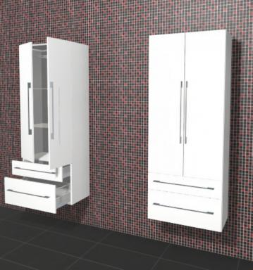 Puris Linea Badmöbel Hochschrank 60 cm | 2 Türen + 2 Auszüge