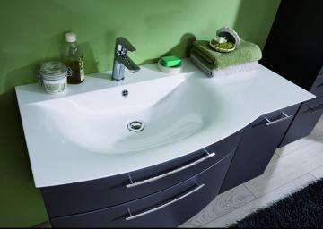 Puris Linea Waschtisch mit Unterschrank Set 100 cm | Ablage Rechts