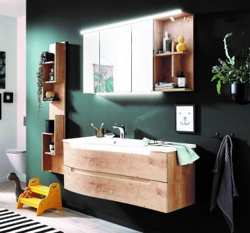 Puris Purefaction Badmöbel Set A 120 cm | Spiegelschrank | Ablage rechts