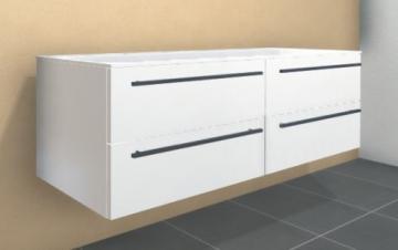 Puris Star Line Waschtischunterschrank 140 cm | für Mineralguß Becken (Stoneplus & Evemite) | 4 Auszüge