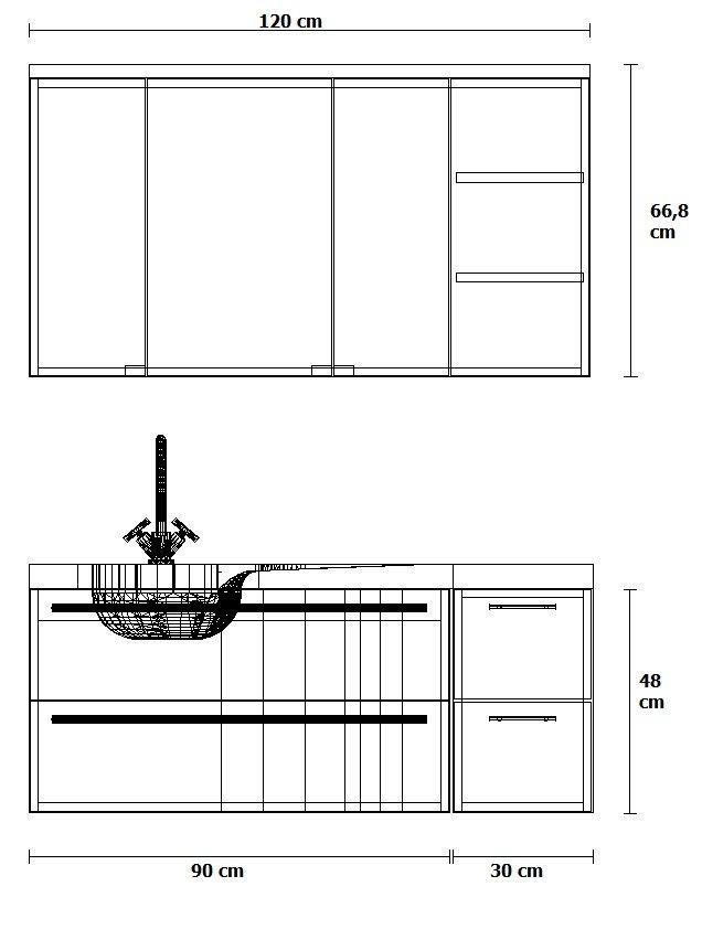 Puris Swing Set G 120 cm | Spiegelschrank Geschlossen | Ablage rechts