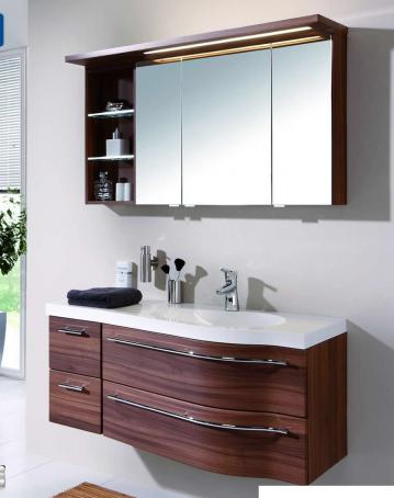 Puris Swing Set J 120 cm | Spiegelschrank Offen | Ablage links