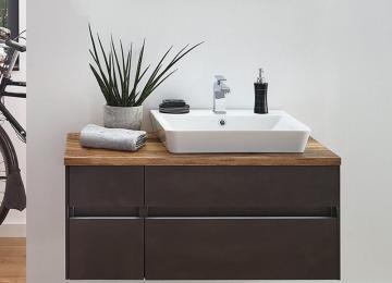 Puris Unique Badmöbel 102 cm | Waschtisch mit Unterschrank Ablage Links