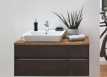 Puris Unique Badmöbel 102 cm | Waschtisch mit Unterschrank Ablage Rechts