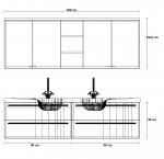 Puris Swing Set Q 180 cm   Spiegelschrank Geschlossen